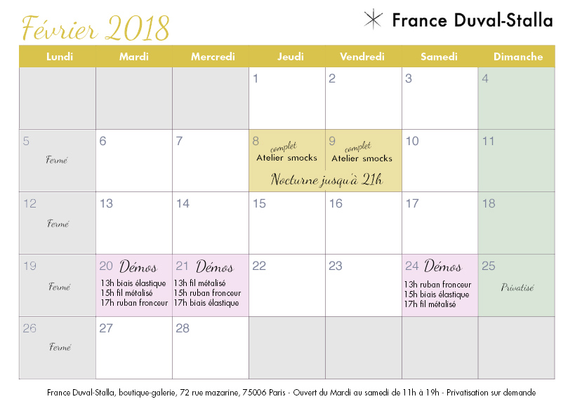 planning février 2018 boutique France Duval Stalla 72 rue mazarine Paris